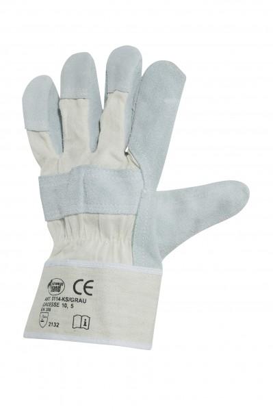 arbeit-leder-rindspaltleder-grau-segeltuch-stulpe-drell-gefuettert-baumwolle-baumwollruecken-doppelnaht-handschuhe-hsw91255