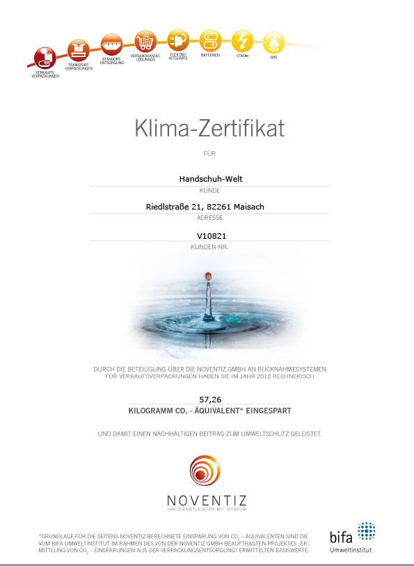 Handschuh-Welt: Klimaschutz-Zertifikat